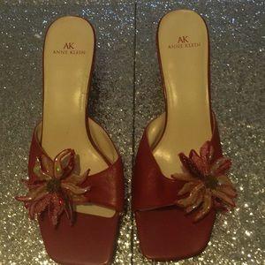 Anne Klein Red Floral Embellishment  Heels 7.5